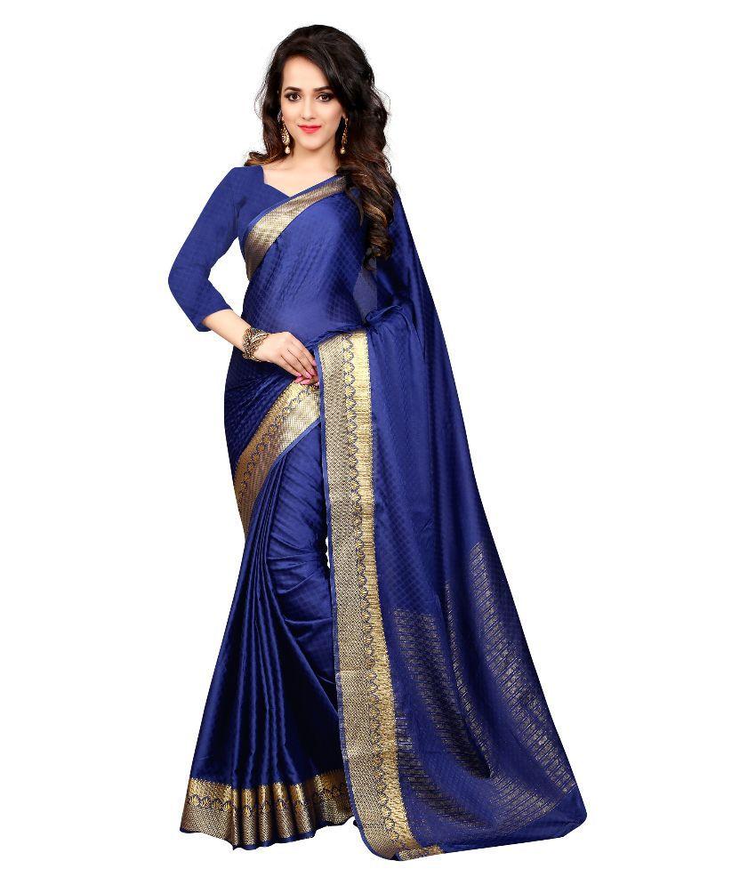 Greenvilla Designs Blue Art Silk Saree