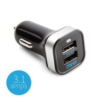 Mivi Dual Port Car Mobile Charger with Fast Charging - 3.1A  - For all Mobiles