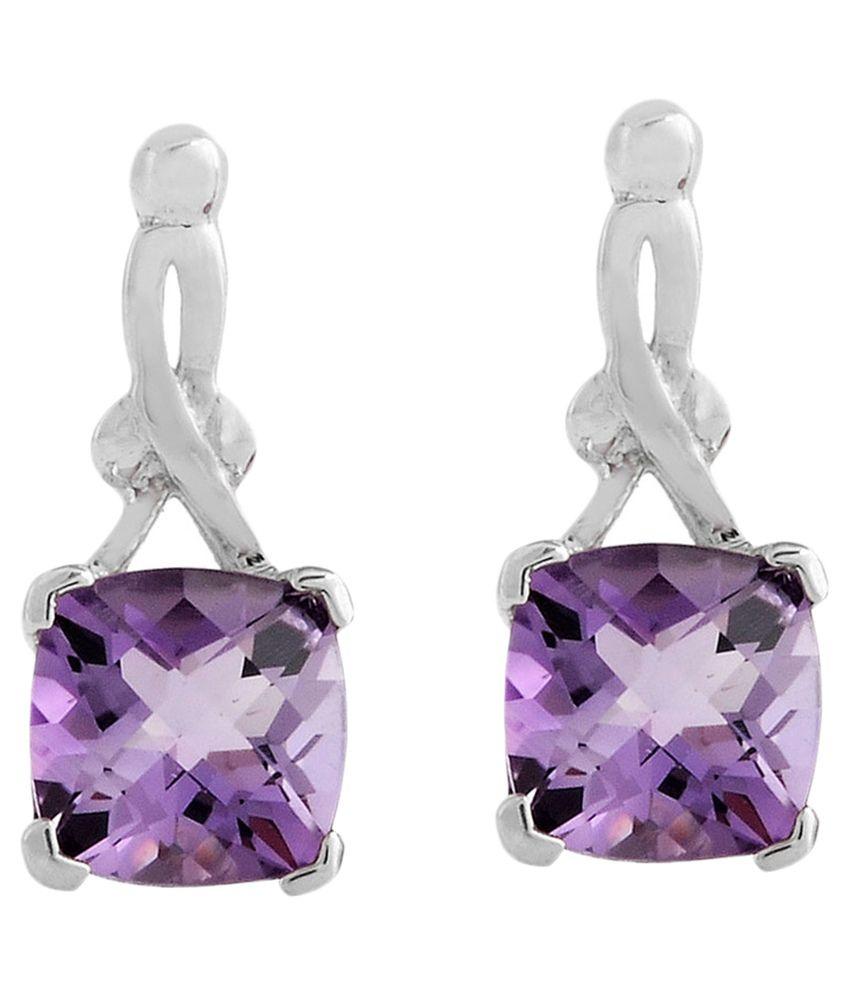 Ribbonkart 92.5 Silver Amethyst Studs Earrings