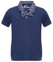 instaFab Blue Cotton Polo T-shirt