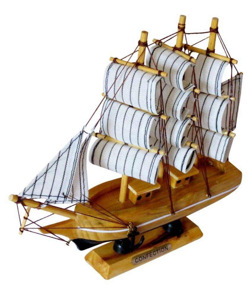 Clickflip Brown Wooden Ship Showpiece