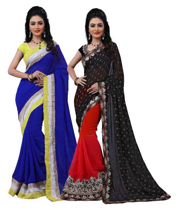 Krishna Creation Multicoloured Chiffon Saree Combos