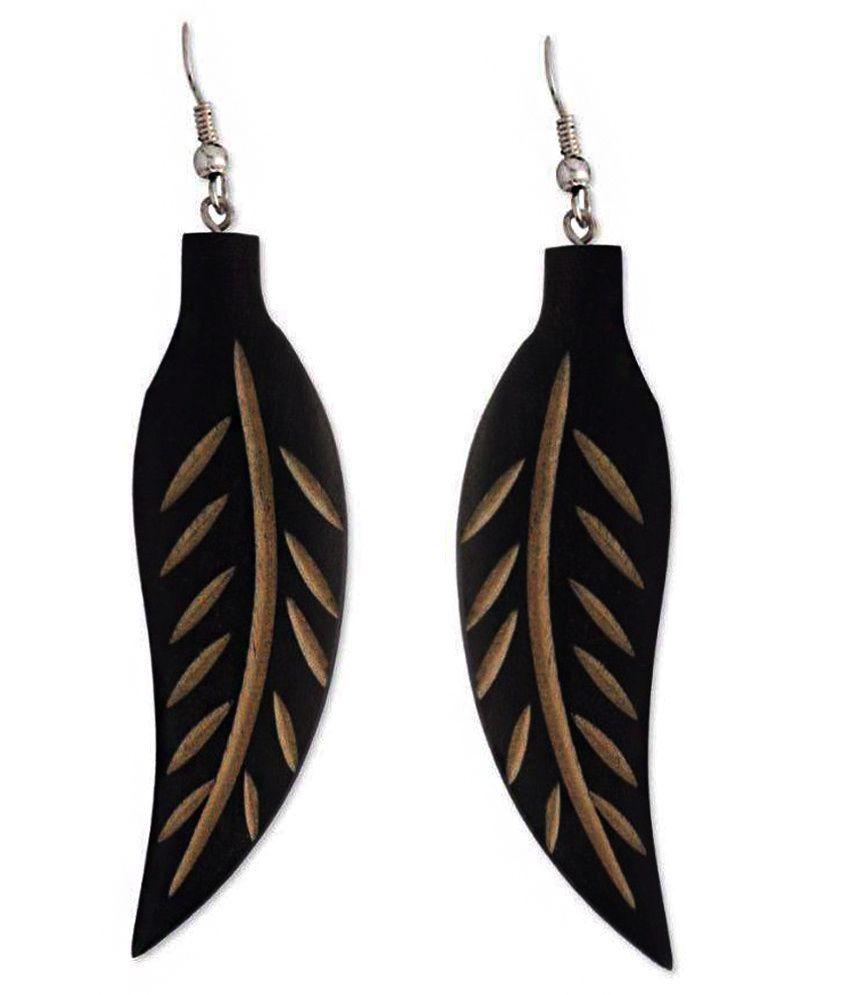 Nanni Creation Wood Oxidised Studded Black Coloured Earrings
