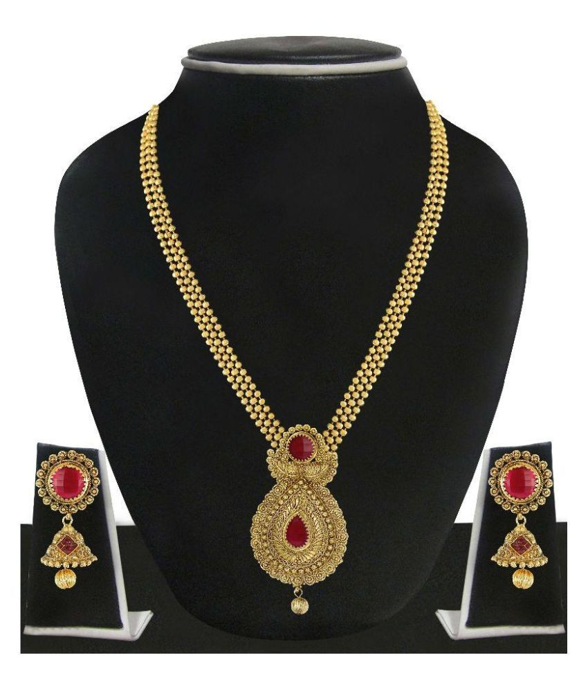 Zaveri Pearls Zinc 22 Kt. Gold Plating Stones Studded Gold Coloured Necklaces Set
