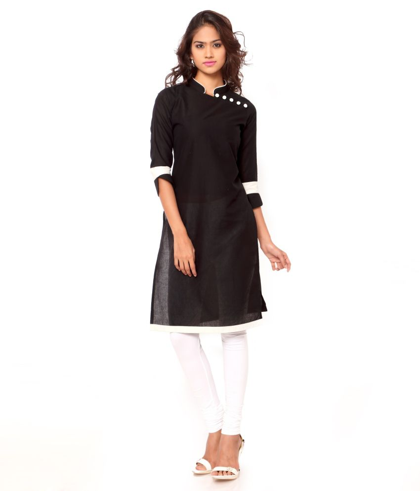 Ket Dapper Black Cotton Straight Kurti