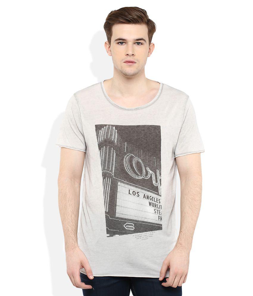 SELECTED Grey Printed T-Shirt