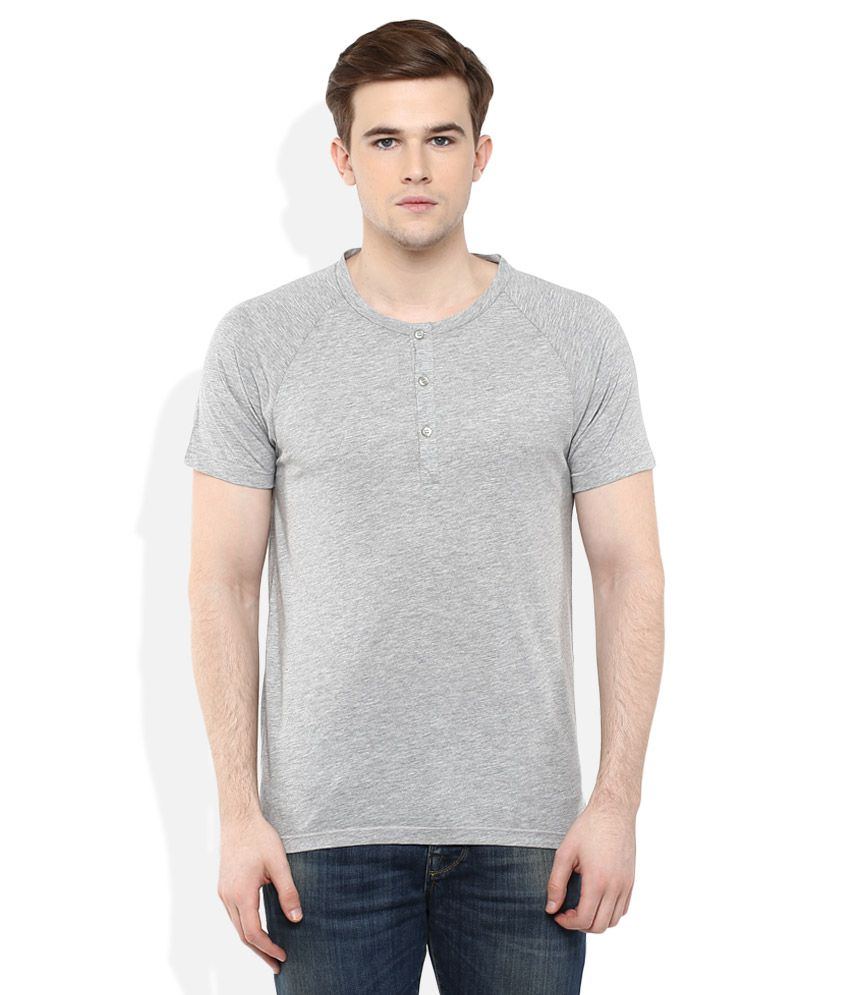 SELECTED Grey Solid T-Shirt