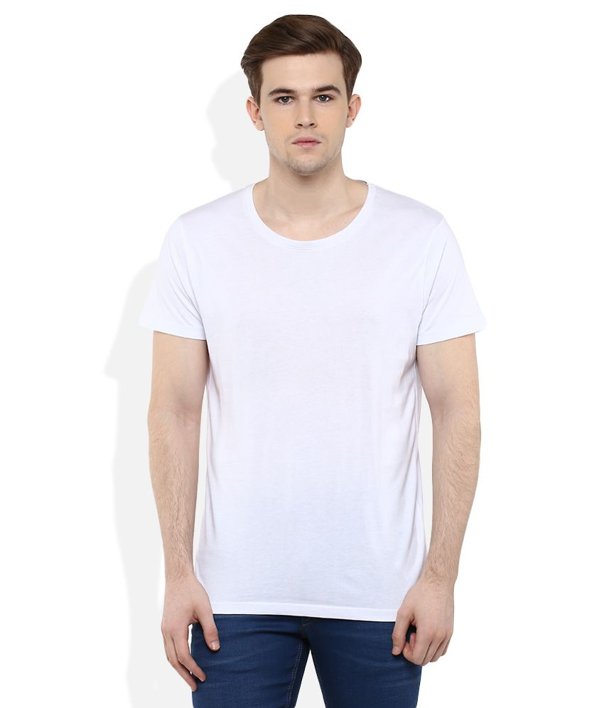 SELECTED White Solid T-Shirt