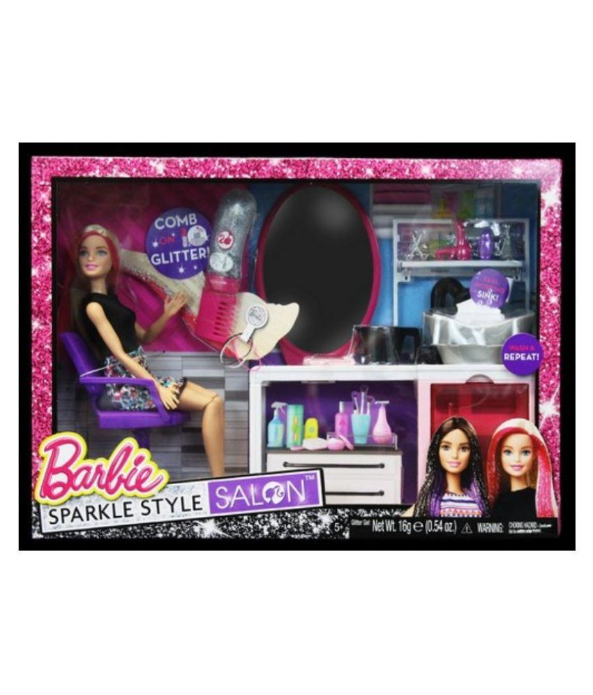 barbie sparkle style salon buy barbie sparkle style salon online at low price snapdeal. Black Bedroom Furniture Sets. Home Design Ideas
