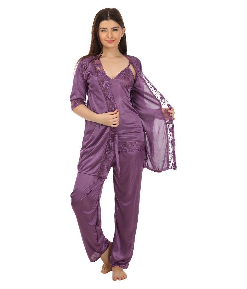 Embibo Purple Satin Nightsuit Sets