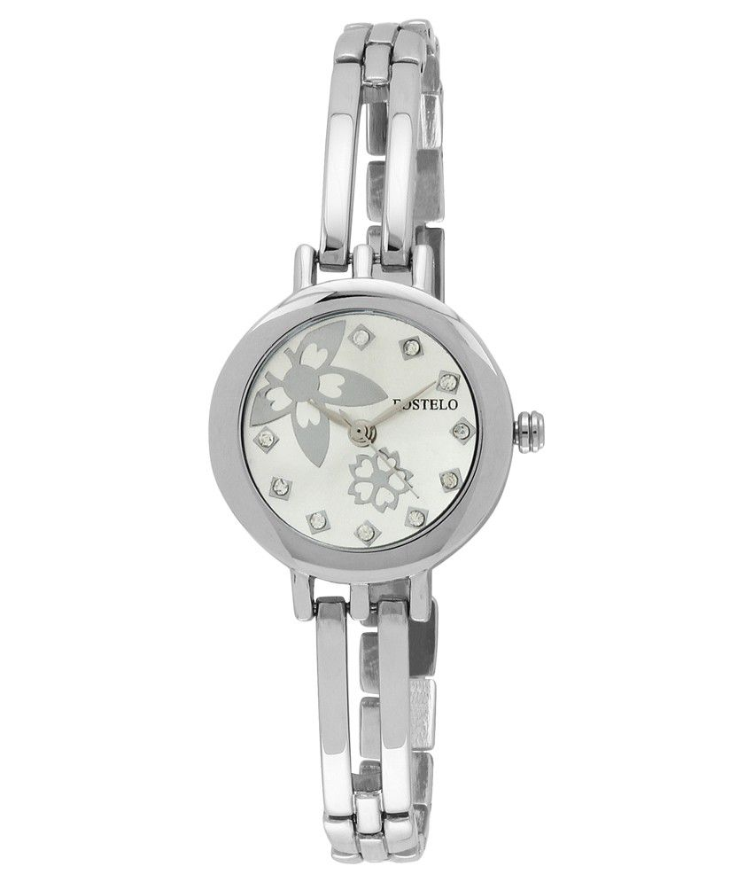 Fostelo Silver Stainless Steel Analog Watch