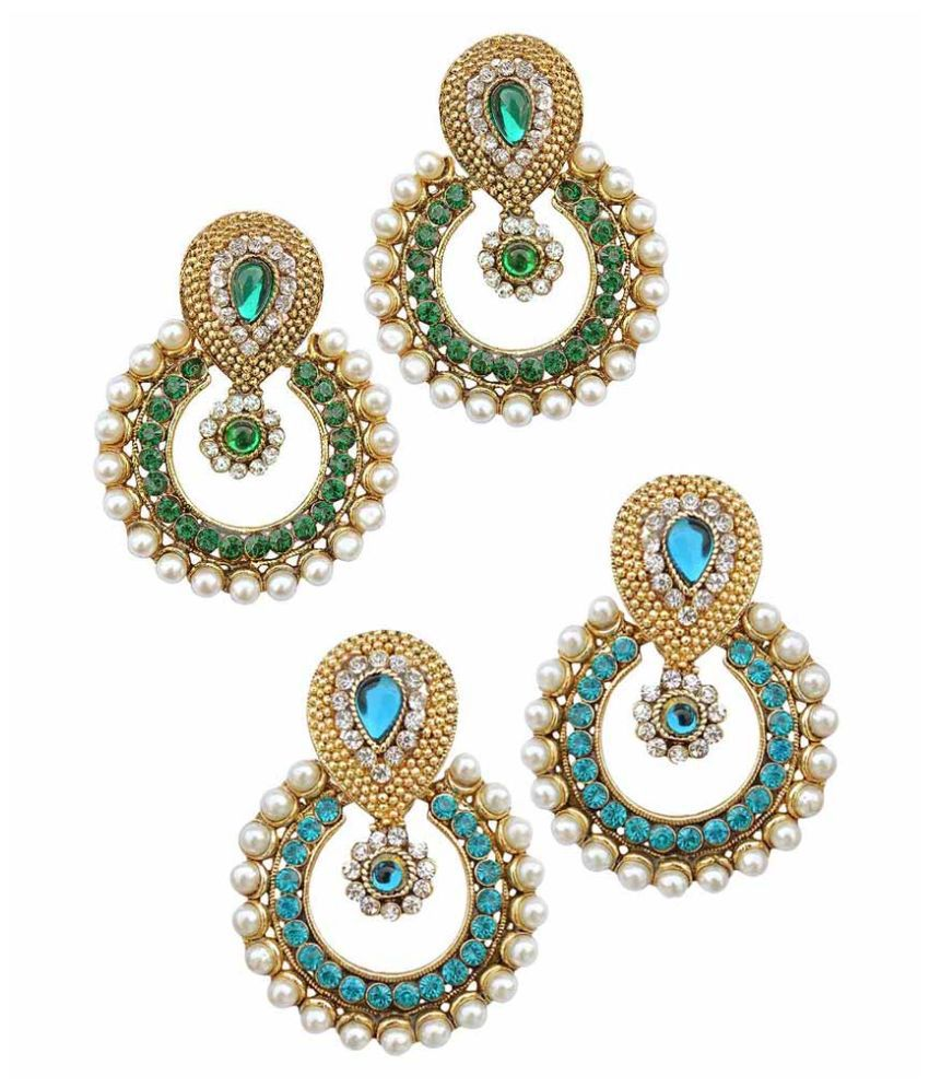 Miss Perfect Alloy Studded Multi Coloured Earrings