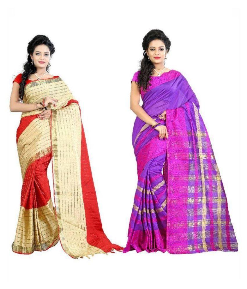 Muta Fashions Multicoloured Cotton Saree Combos
