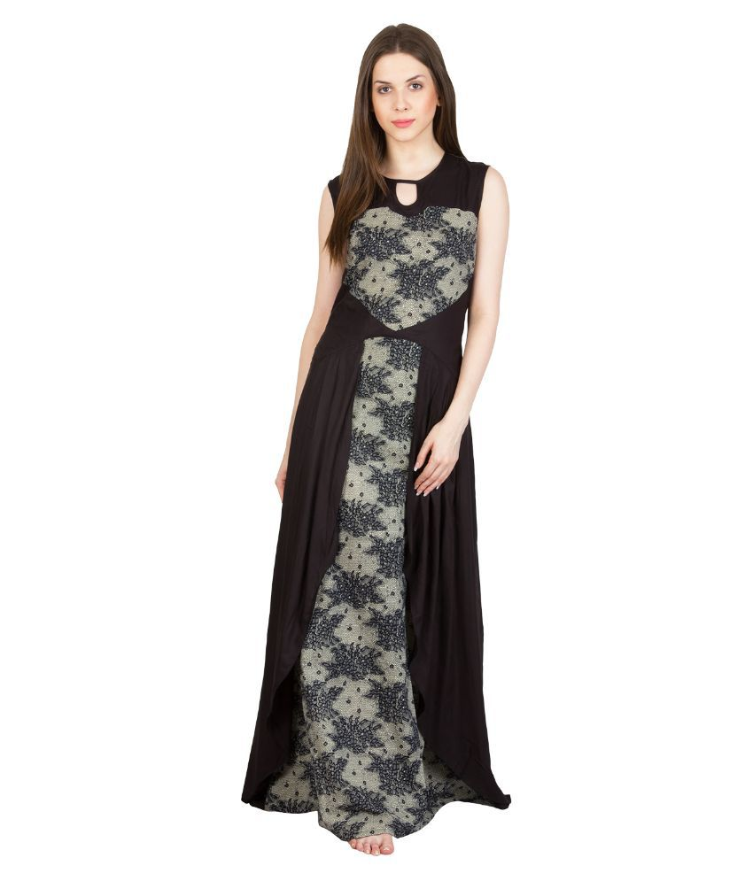 Buy Patrorna Black Viscose Nighty   Night Gowns Online at Best Prices in  India - Snapdeal 5f3761acc