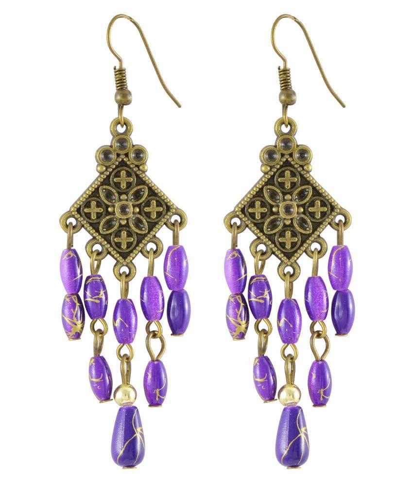 Sarah Alloy Studded Purple Coloured Earrings