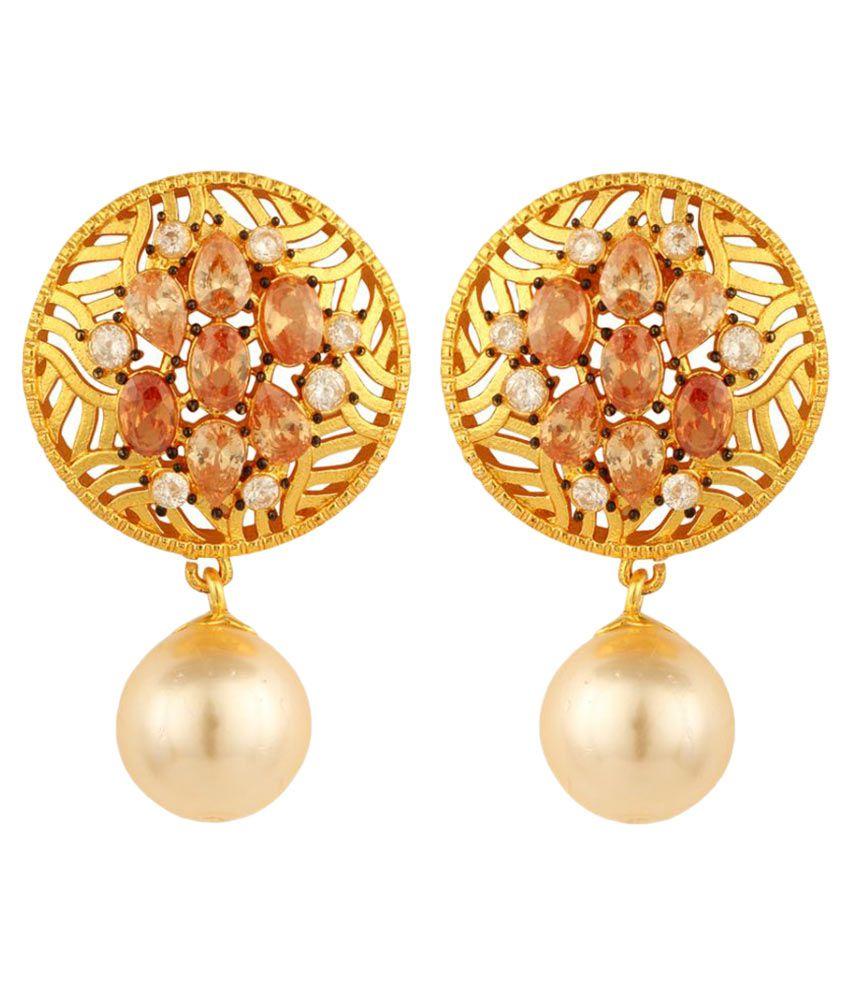 Sheel Alloy Cubiz Zirconia Studded Golden Coloured Earrings