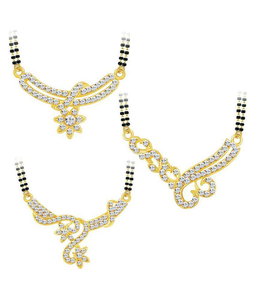 Shostopper Alloy Gold Plating Austrian Diamond Studded Gold Coloured Mangalsutra Combo