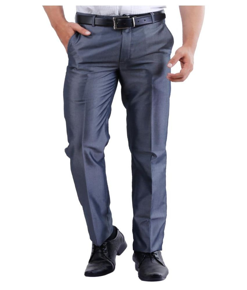 La Mode Grey Slim Fit Flat Trousers