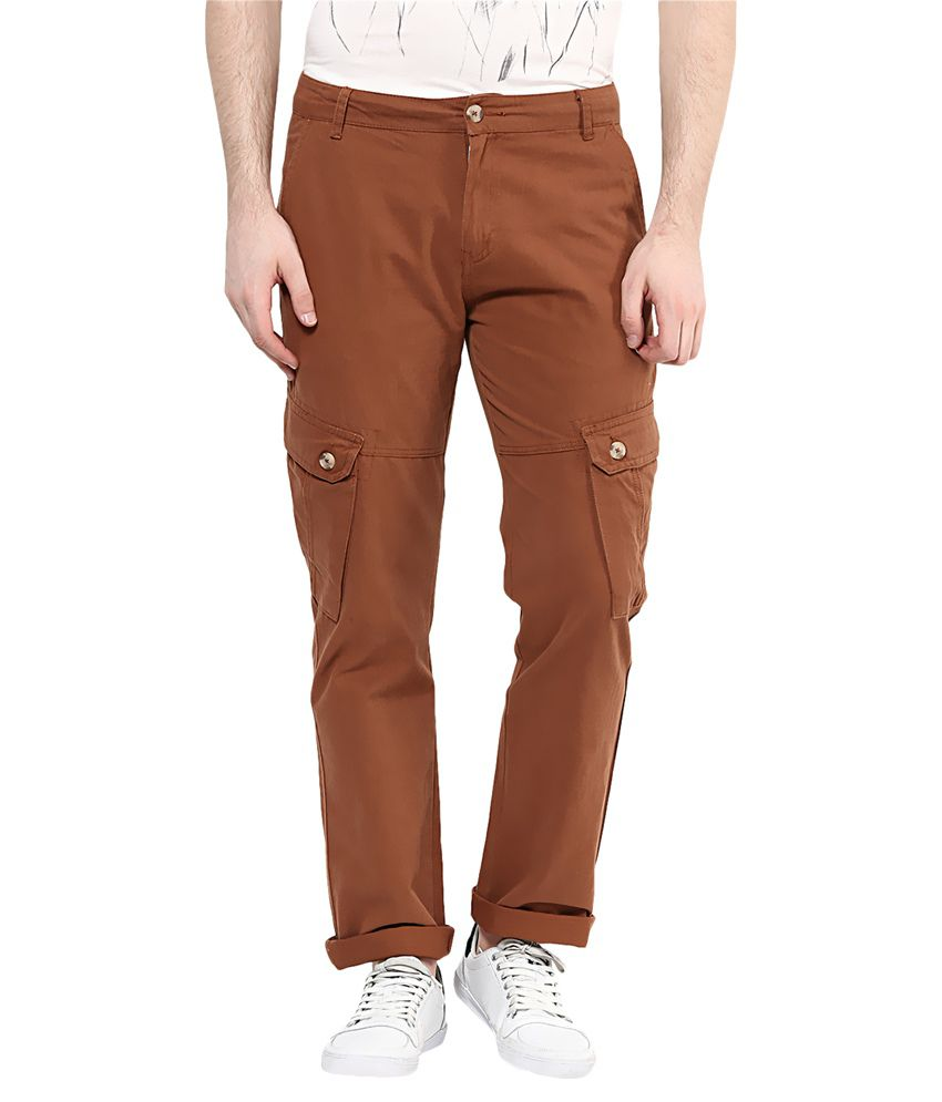 Yepme Brown Regular Fit Cargos