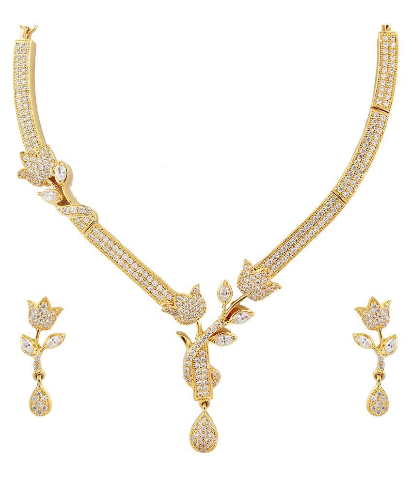 Kushi Alloy Cubiz Zirconia Studded Gold Coloured Necklaces Set