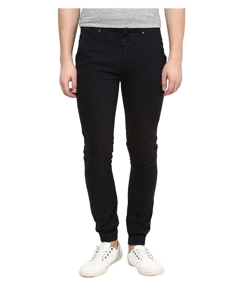 Yepme Black Regular Fit Jogger Jeans