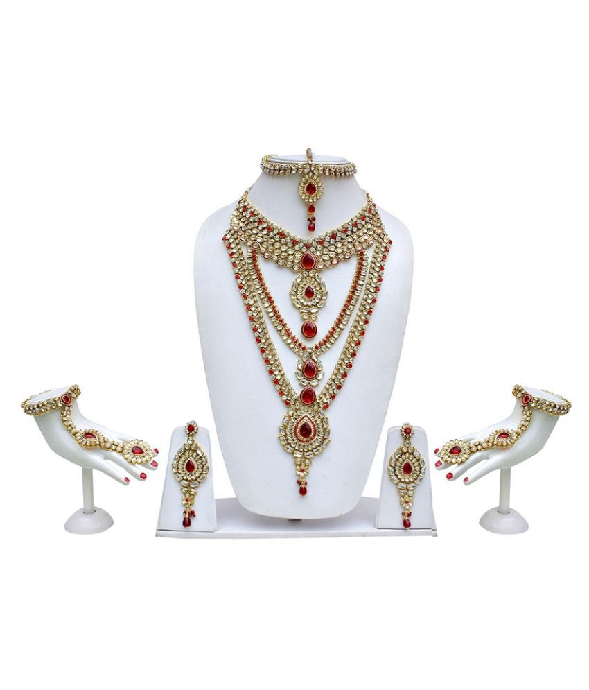 shubam jewellery bridal from set necklace pin and pearls