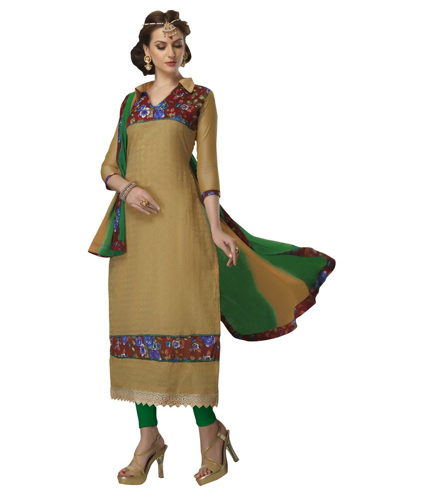 Reedham Enterprise Green Chanderi Straight Unstitched Dress Material