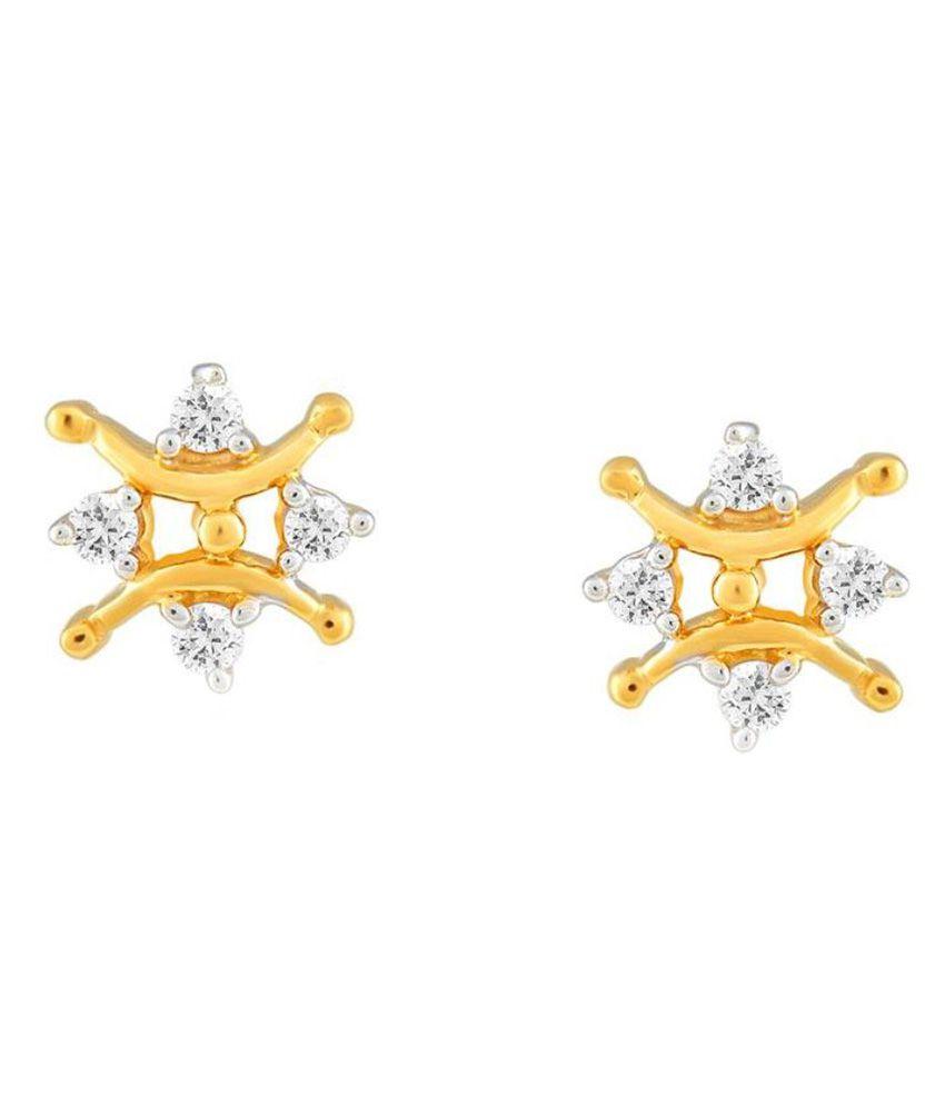 Sangini 18kt BIS Hallmarked Yellow Gold Diamond Studs