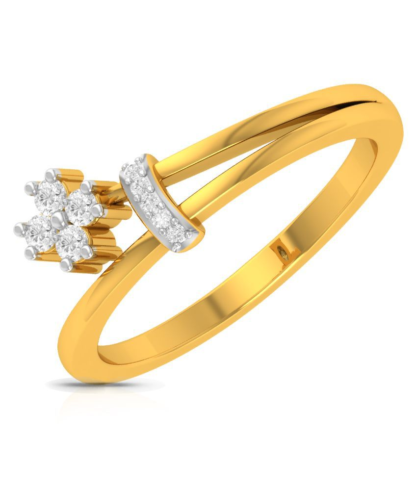 Charu Jewels 18Kt BIS Hallmarked Yellow Gold Diamond Ring