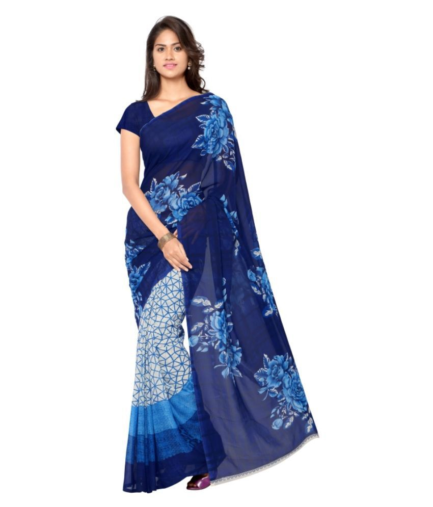 Aagaman Fashions Blue Georgette Saree