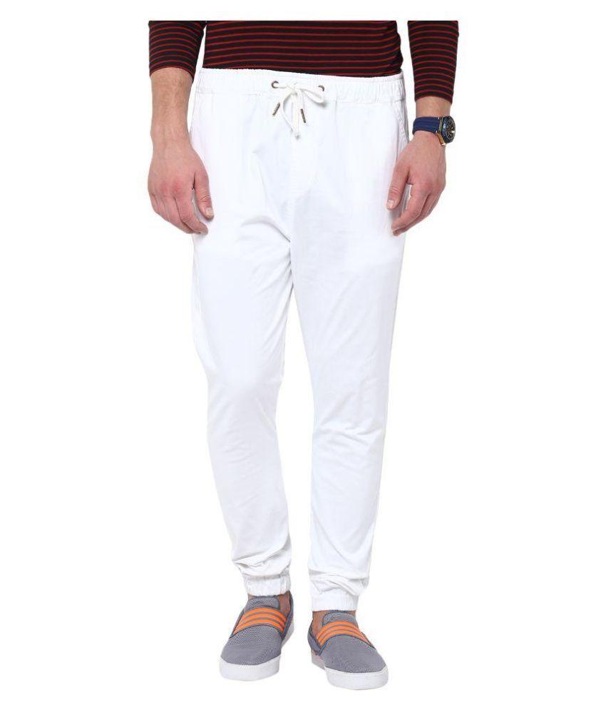 Hypernation White Cotton Lycra Trackpant