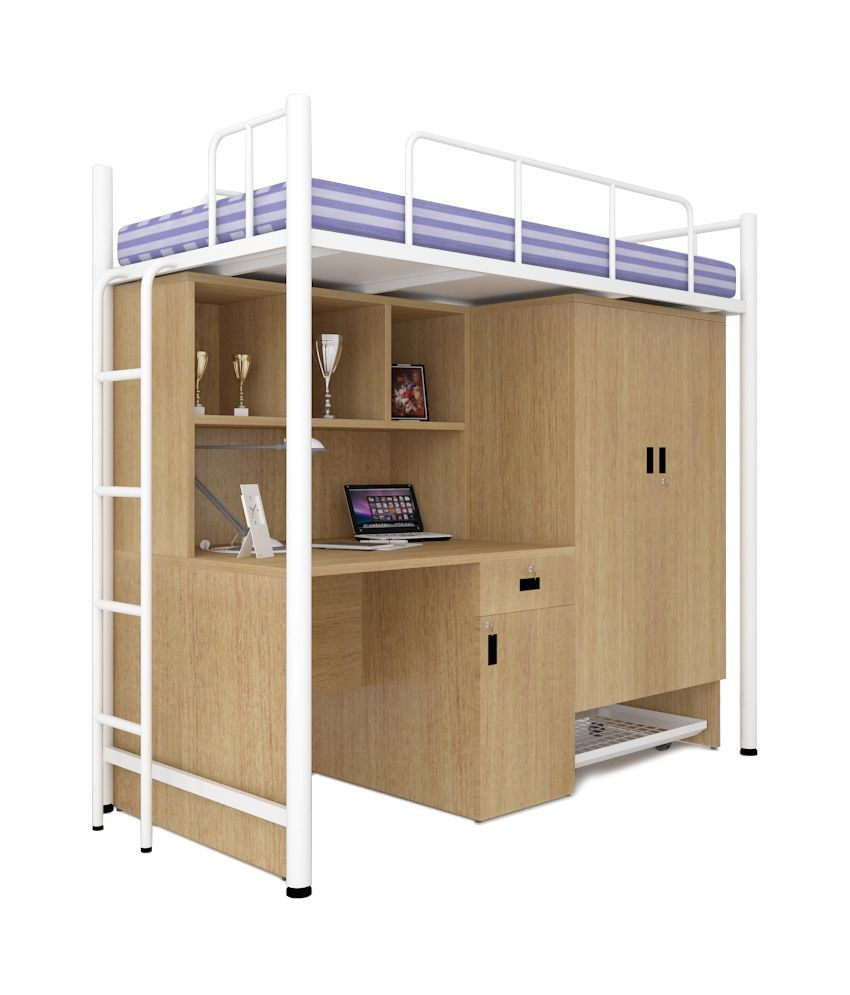 Unicos Jumbo Bunk Bed With Study Table In White U0026 Urban Teak ...