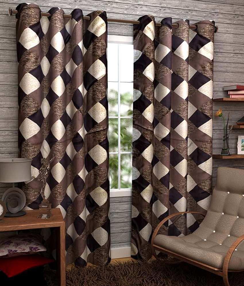 Homefab India Set of 2 Window Eyelet Curtains Checks Brown