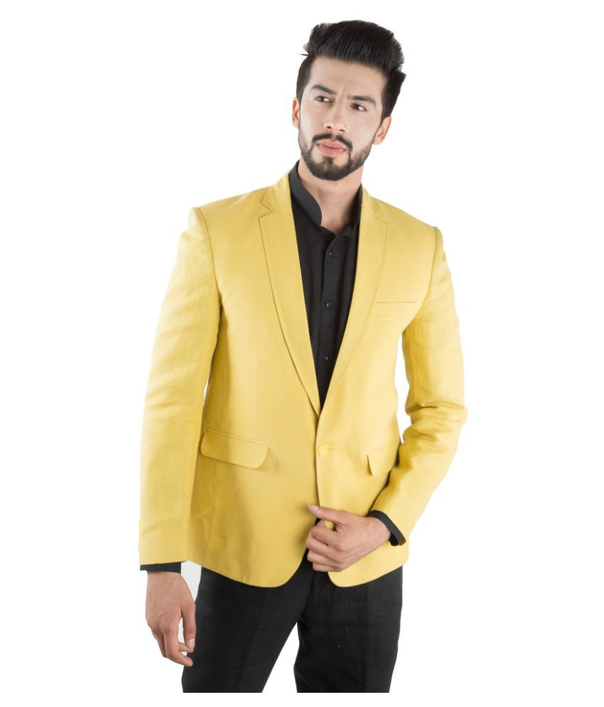 Jahanpanah Yellow Blended Coat