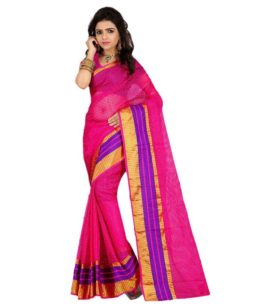 Stutti Fashion Pink Tissue Saree