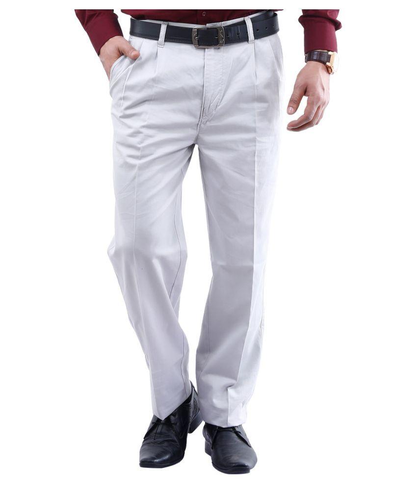 La Mode White Slim Fit Pleated Trousers
