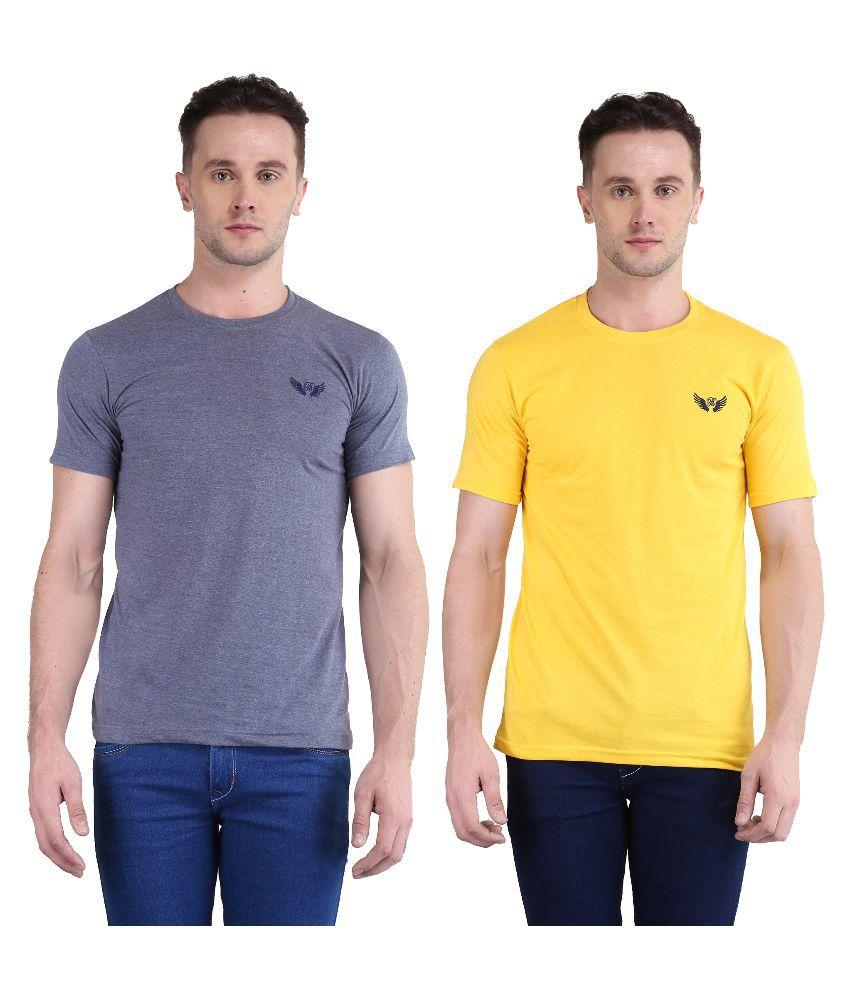 Bravezi Multi Round T Shirt Pack of 2