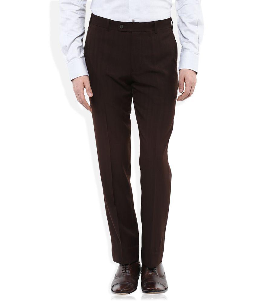 Park Avenue Brown Regular Fit Flat Trousers