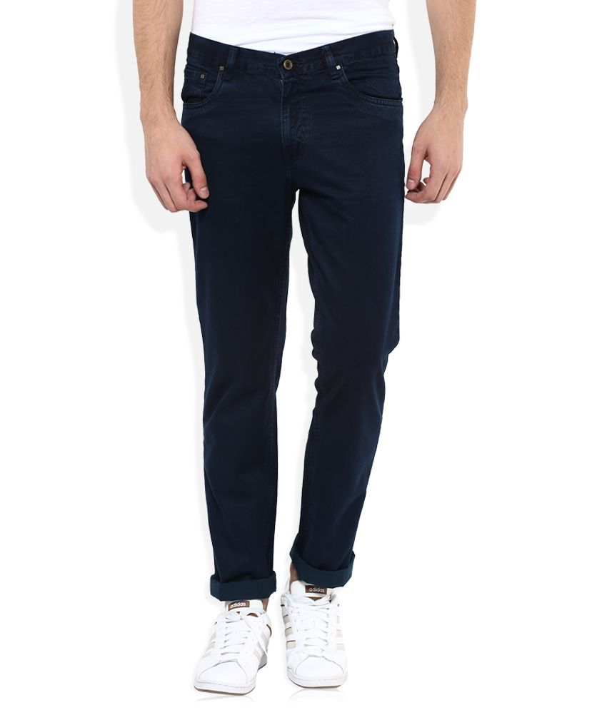 Parx Blue Regular Fit Solid Jeans