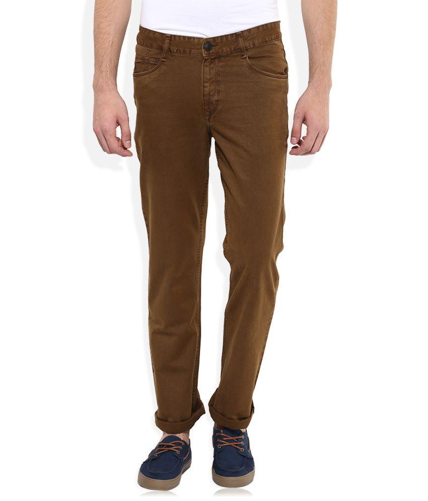 Parx Brown Regular Fit Solid Jeans
