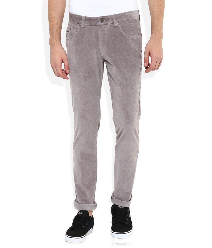 Parx Grey Regular Fit Chinos