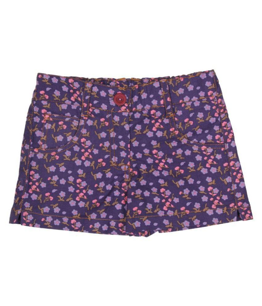 Twin Twine Purple Cotton Shorts