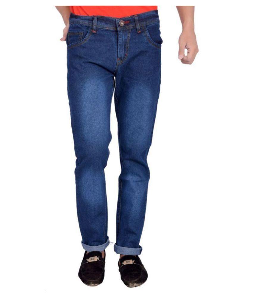Won99 Blue Slim Fit Solid Jeans