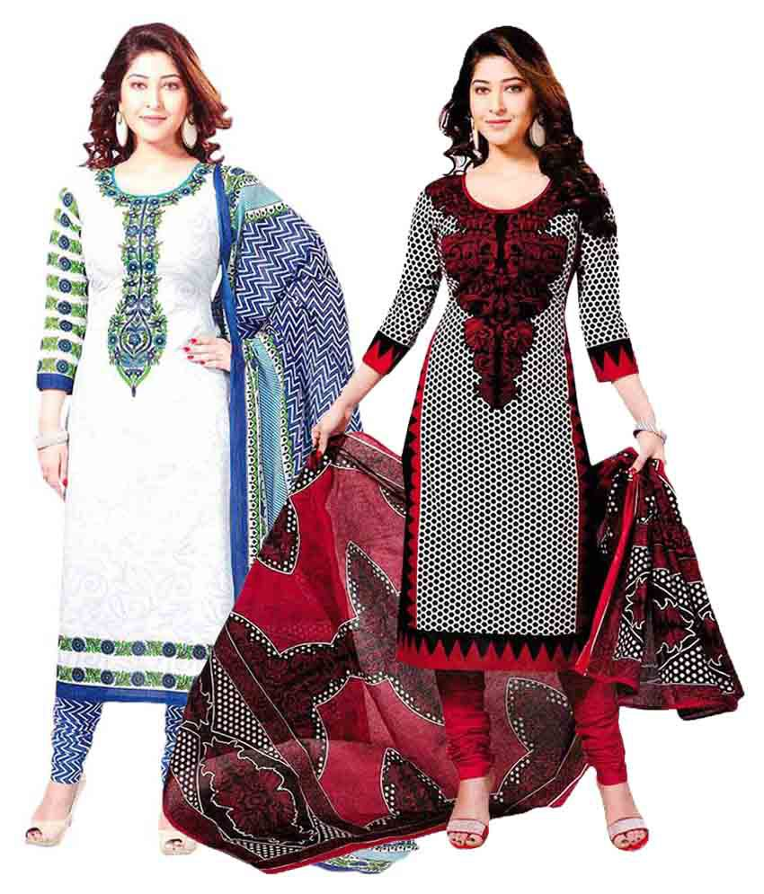 Angel Shop Multicoloured Cotton Straight Unstitched Dress Material