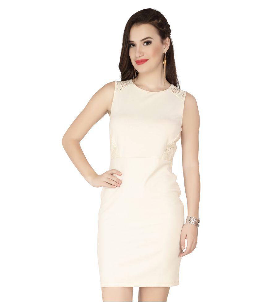 SOIE Off White Polyester Dresses