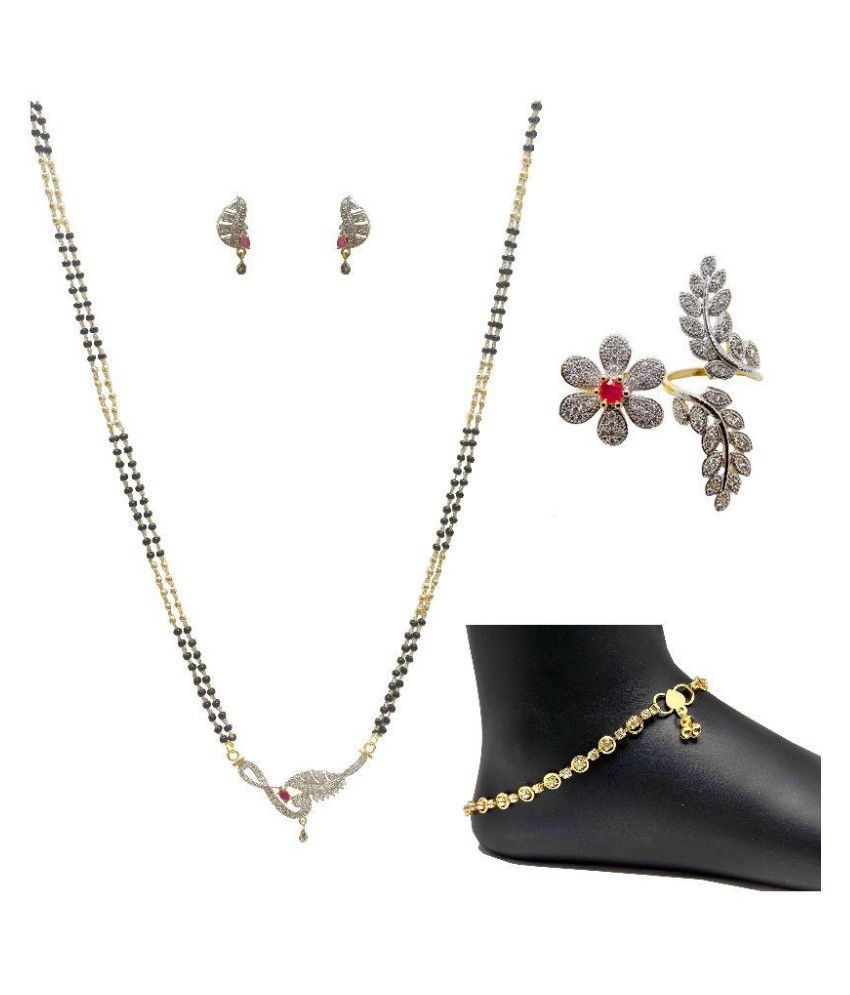 Nits Trend Golden Mangalsutra Set with Finger Ring and Anklets