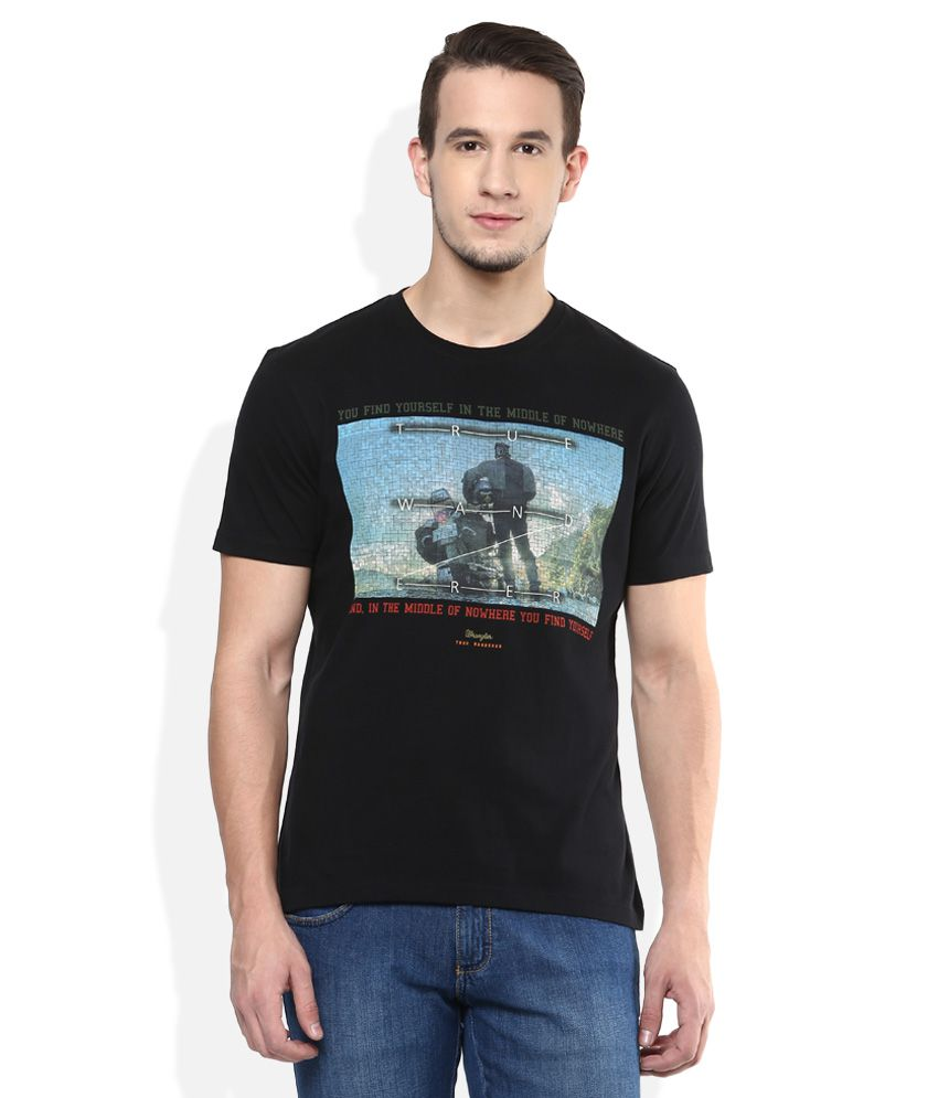Wrangler Black Printed Regular Fit T-Shirt