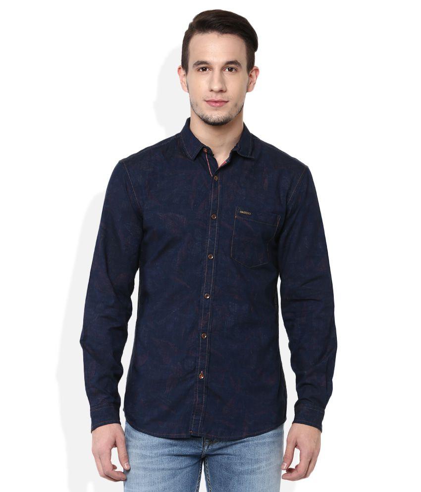 Wrangler navy slim fit shirt buy wrangler navy slim fit for Navy slim fit shirt