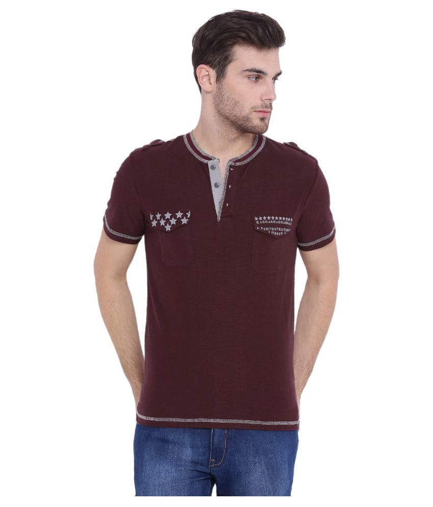 Arise By Beroe Maroon Henley T Shirt