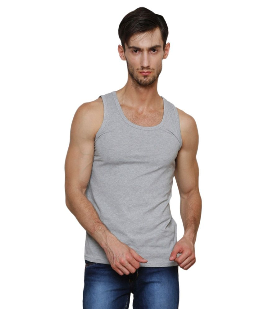 Casual Tees Grey Polyester Innerwear